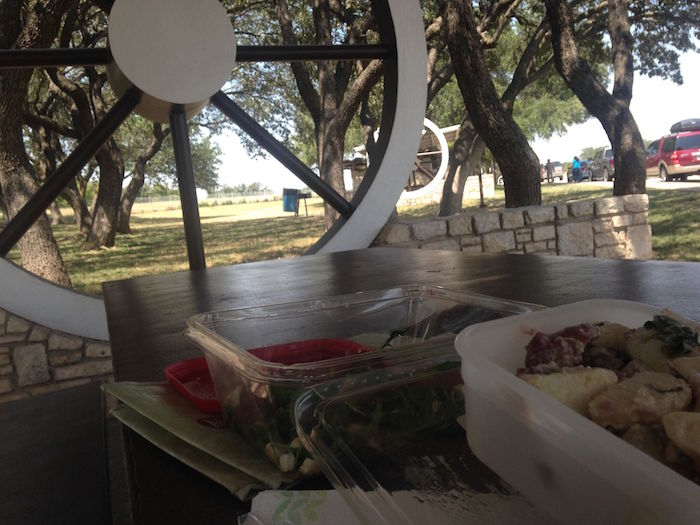 Picnic lunch at Wagon Wheel rest area in Sonora, TX.