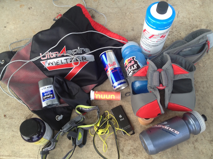 Karl Meltzer's backpack with assorted supplies for the 2013 Bandera 100K.
