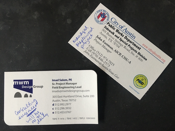 Business cards for City of Austin's John Eastman and Imad Salem with MWM Design Group.