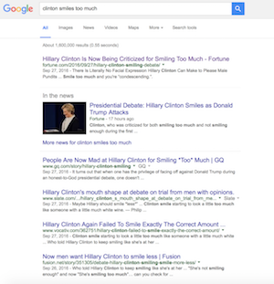 "Screenshot showing Google search results on phrase ""Clinton Smiles Too Much"""