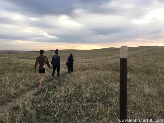 Three hikers on the Bison Trail between Hudson-Meng Bison Bonebed and Toadstool Geologic Park in Nebraska.