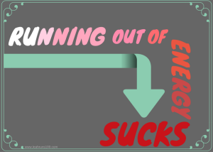 "Downward arrow with caption, ""Running Out of Energy Sucks"""
