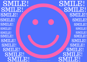 "Pink happy face on blue background with words ""SMILE!"" surrounding."