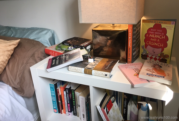 Books to read before bedtime on a nightstand