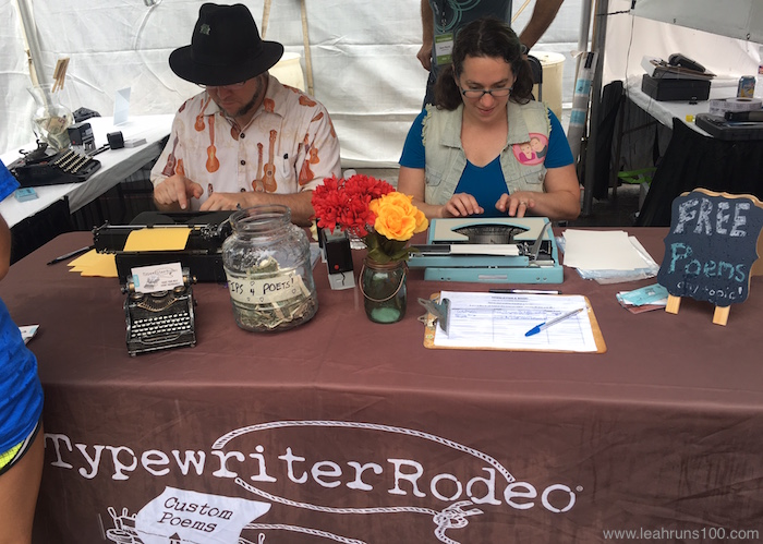 Poets from Typewriter Rodeo create poems on old fashioned typewriters.
