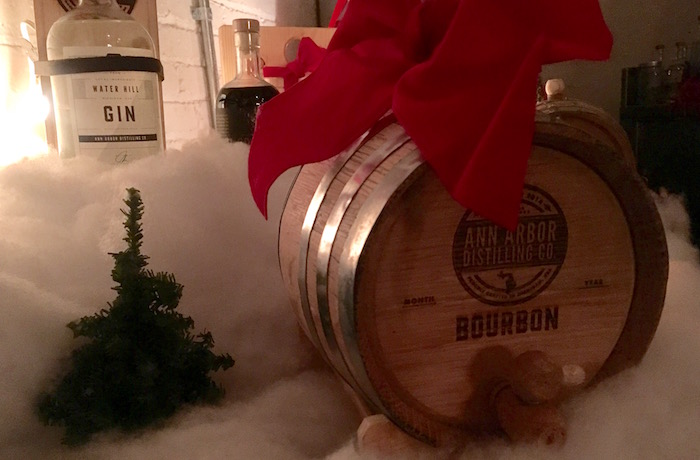 Holiday cask of bourbon and bottle of gin from Ann Arbor Distilling Company.