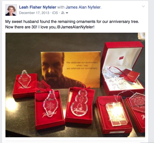 Baccarat Christmas ornaments as an anniversary present in Facebook post.