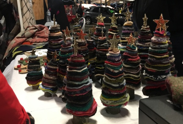 Handmade felt trees at Ann Arbor KindleFest.