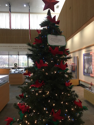 Christmas tree at Gerald R. Ford Presidential Library in Ann Arbor.