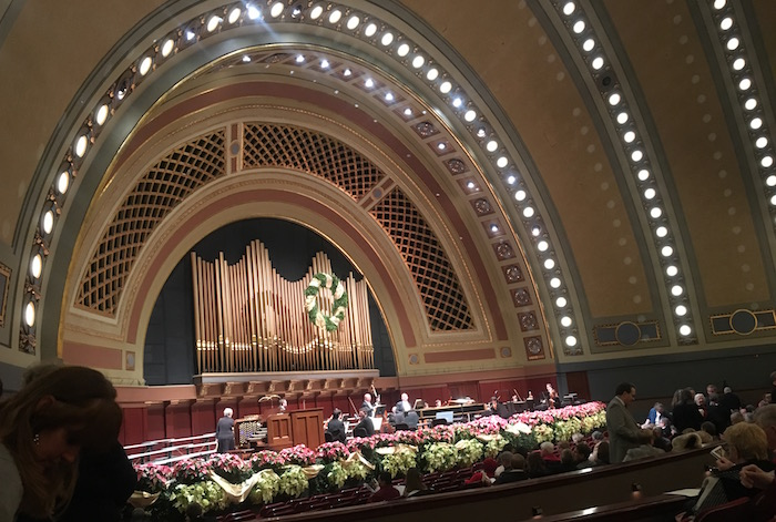 "University of Michigan's Hill Auditorium decorated for annual performance of Handel's ""Messiah."""