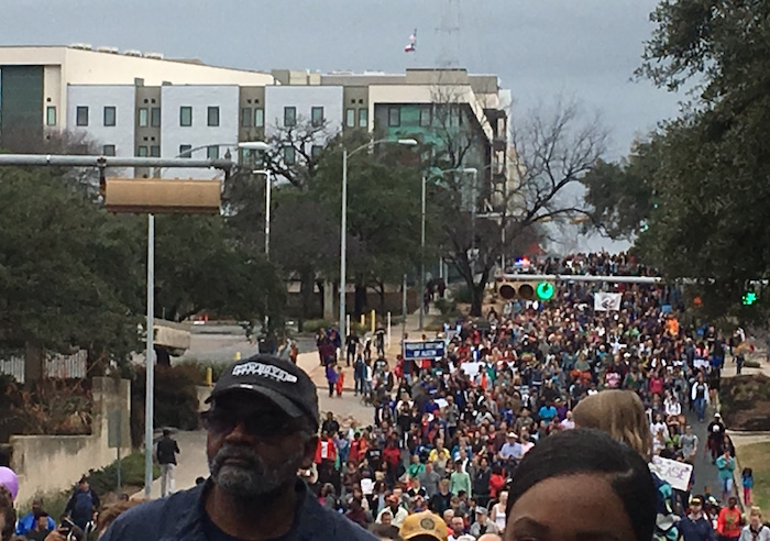 Marchers at Austin's MLK Day event fill 11th Street.