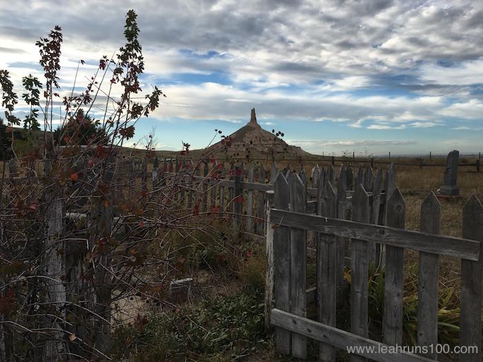 View of Chimney Rock in northwestern Nebraska from the Chimney Rock cemetery.