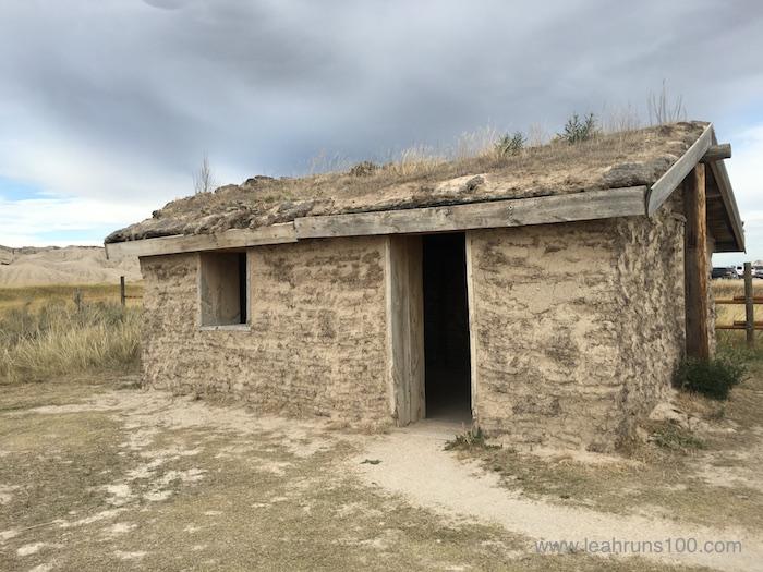 Recreated pioneer sod house at Toadstool Geologic Park in northwestern Nebraska.