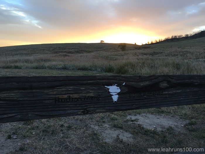 Sunrise over a painted bison skull trail marker at Hudson-Meng Bison Bonebed Trail