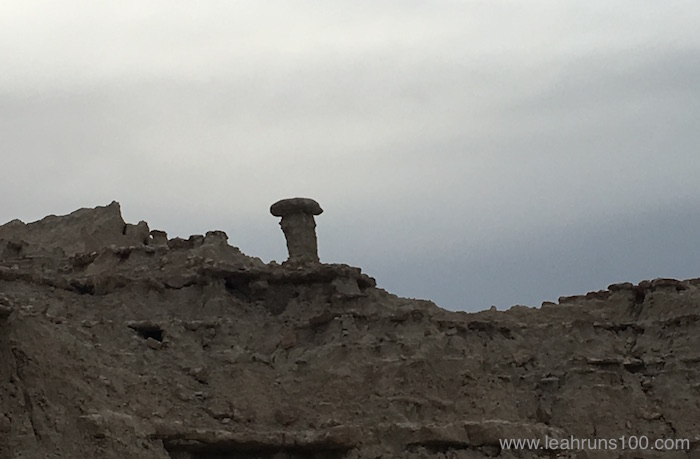 A toadstool rock formation in Nebraska's Toadstool Geologic Park