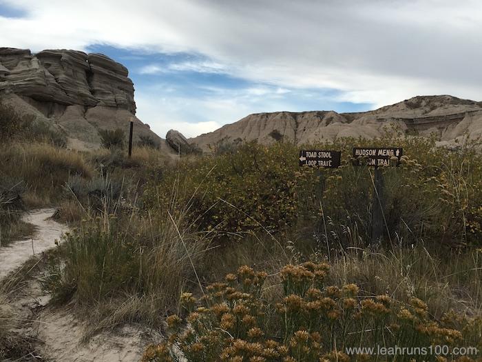 Signs marking Toadstool Loop Trail and Hudson-Meng Bison Trail in northwestern Nebraska
