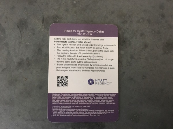 Card with written route directions for Hyatt Regency Dallas created by Athletic-Minded Traveler