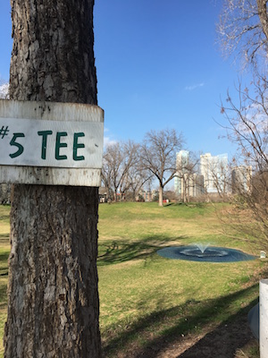 Looking at Austin skyline from tree marked #5 Tee at Butler Park Pitch and Putt.