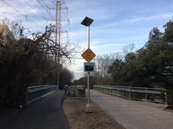 Speed monitor sign for bike traffic on Katy Trail in Dallas