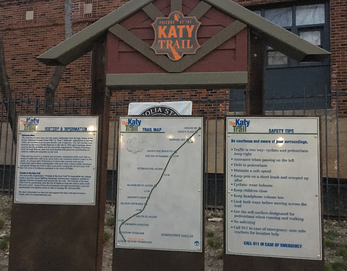 Trailhead kiosk with maps of Katy Trail at south end in downtown Dallas