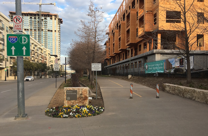 Katy Trail entrance off Houston St. in downtown Dallas