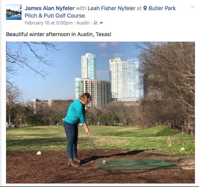 Woman golfing at Butler Park Pitch and Putt in Austin, TX.