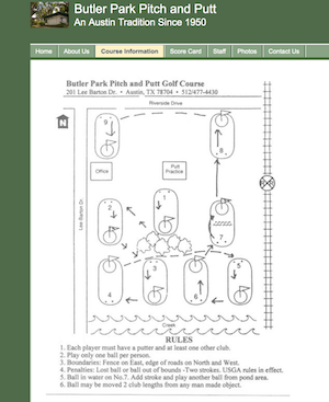 Diagram of holes at Butler Park Pitch and Putt in Austin