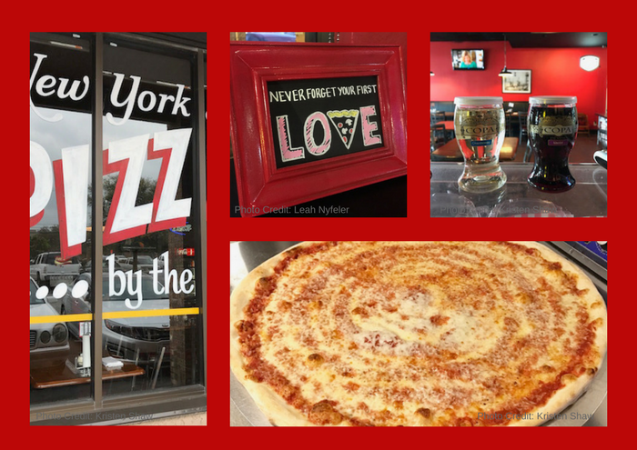 Montage of photos from 3 Train Pizzeria in Austin, TX