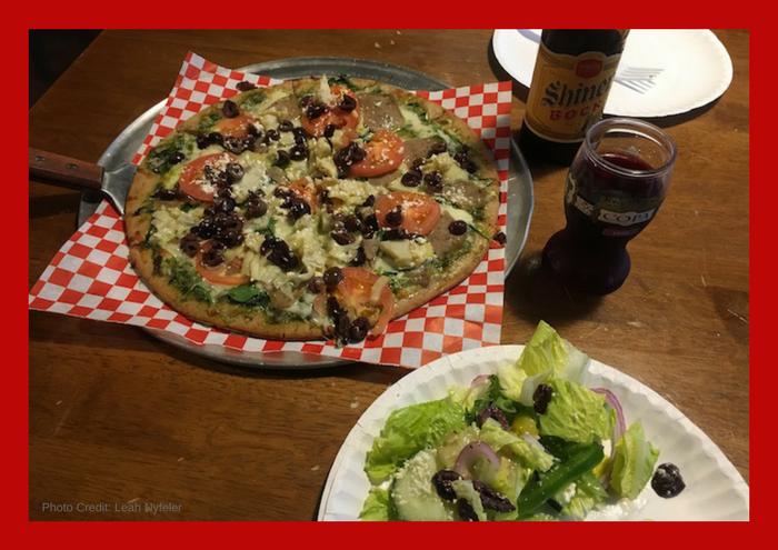 Gluten Free Johnny the Greek pizza from 3 Train Pizzeria with Greek salad