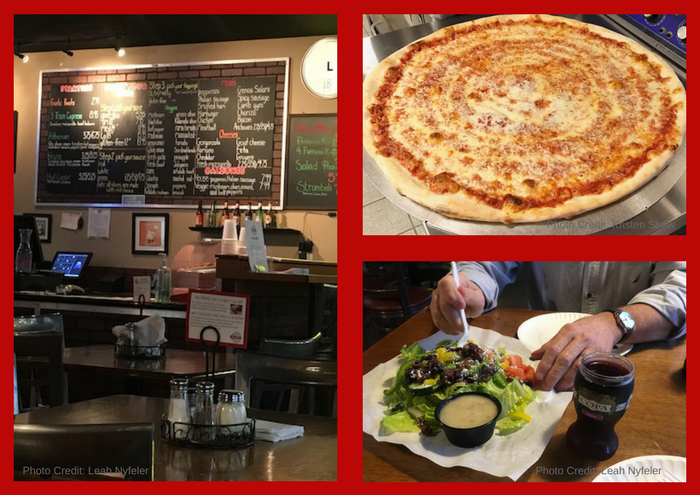 Montage of photos from interior of 3 Train Pizzeria in Austin, TX