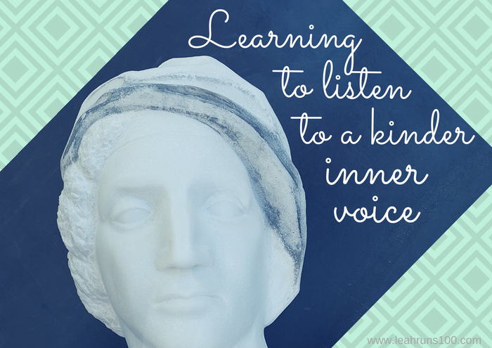 "Image of female marble head with script that says ""learning to listen to a kinder inner voice"""