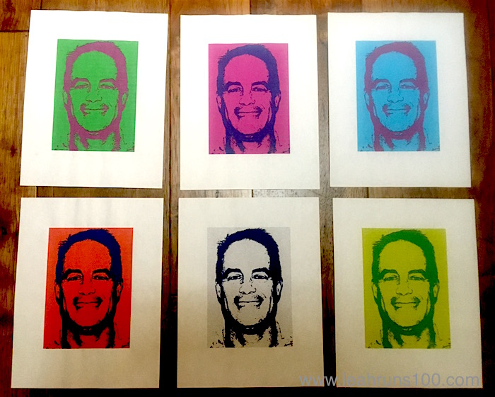 Six photos of the same person in a variety of colors.