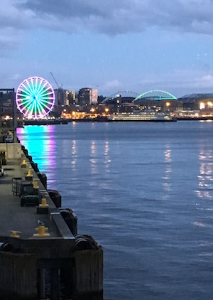 View of Seattle Great Wheel light up on Pier 57 as seen from Edgewater Hotel room.