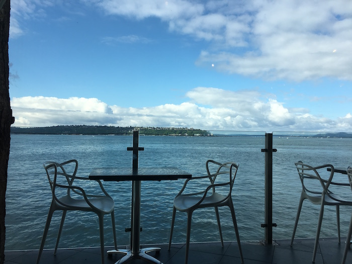 View of the outdoor patio at the Edgewater Hotel in Seattle.