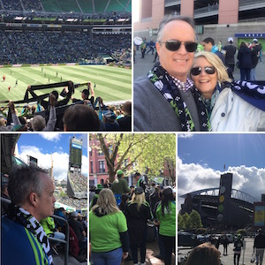 Collage of images from Seattle Sounders FC March to the Match and game against Toronto.